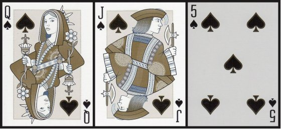 Queen of Spades, Jack of Spades, and 5 of Spades, from the Origins Playing Cards (First Edition) by Rick Davidson.