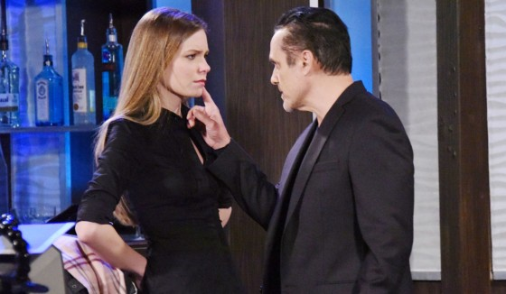 """A must-see moment on """"General Hospital"""": Sonny (Maurice Bernard) confronts and threatens Nelle (Chloe Lanier) for her attempt to wreck his marriage to Carly."""